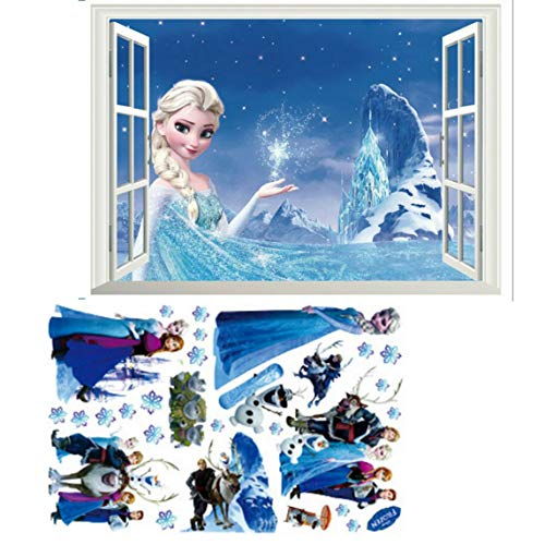 Kibi 2PCS Wandtattoo Eiskönigin (Frozen) Wandsticker Frozen Disney für Kinderzimmer Living Room Removable Prinzessin Elsa Wandtattoo Kinderzimmer Frozen Olaf 2 blatt