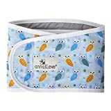 Anna & Eve - Baby Swaddle Strap, Adjustable Arms Only Wrap for Safe Sleeping - Large Size Fits Chest 16 to 20.5, Owls Blue/Green