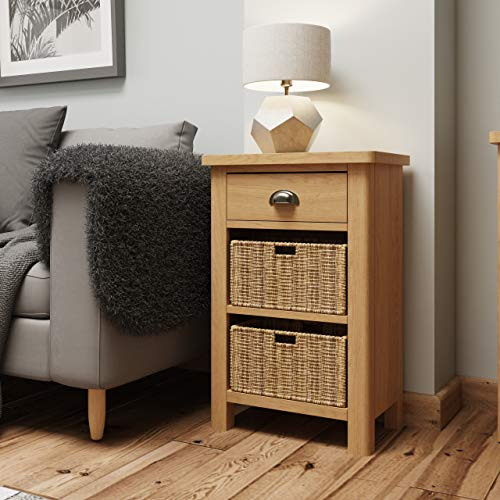 Dovedale Oak Lamp Table / Rustic Side Table End Unit Telephone Storage Cabinet