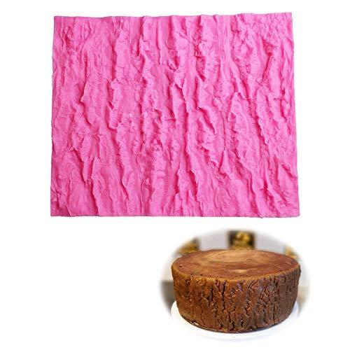 Schors siliconen fondant mal Impression Mats voor Cake Decorating Boomschors textuur schimmel In reliëf gemaakte Icing Mold Tree Bark Mold Non Stick voor Chocolate Cake Border Decoration Impression Mat roze