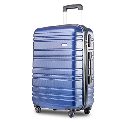 Merax Lightweight Hard Shell 4 Wheels Travel Trolley Suitcase Luggage Set Holdall Cabin Case (20 inches, Blue)