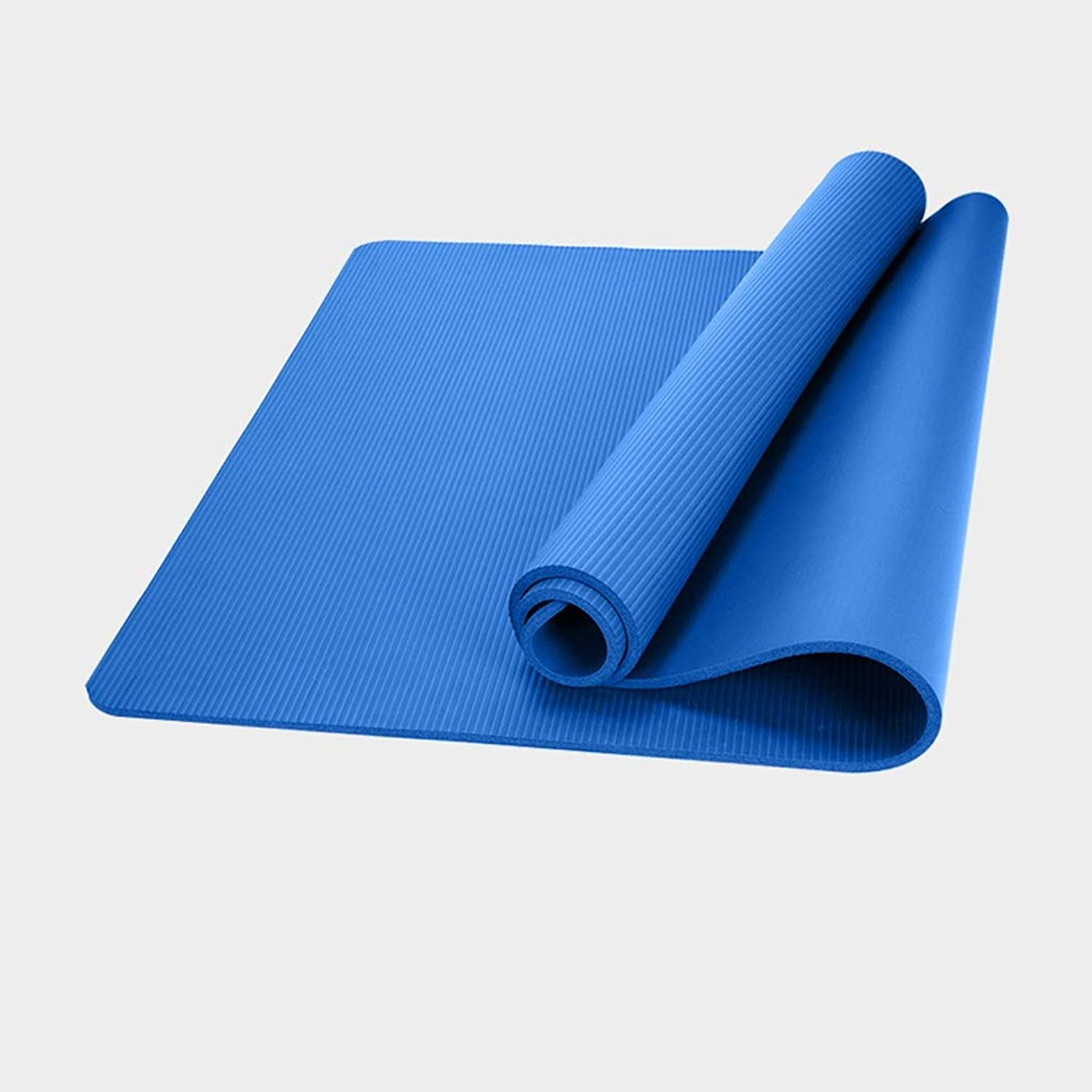 HBZY Yoga Mat Beginners Long Mat Men and Women Widened Thick NonSlip Yoga Fitness Dance Yoga Mat ThreePiece Yoga mat (color   blueee, Size   15mm)