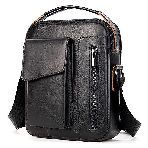 Bolso de hombre de hombre bolso de hombro retro vertical Maletín de tableta-negro