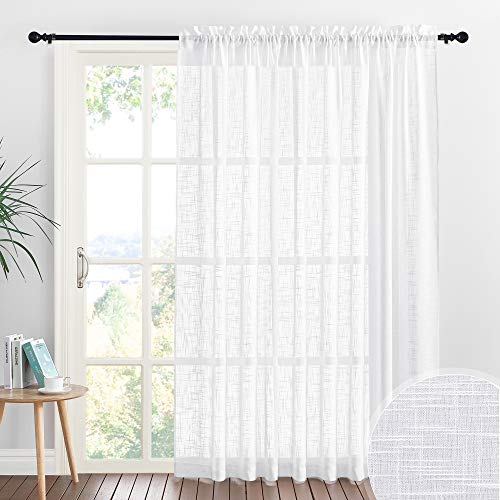 RYB HOME White Sheer Curtains - Linen Sheer Curtain Large Window Privacy Semi Sheer for Living Room Dining Bedroom Patio Sliding Glass Door Window Decor, 100 inches Wide x 84 inches Long, 1 Pc