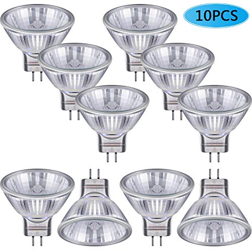 10 Stück Halogen Glühlampen MR11 12V FTD Halogen Scheinwerfer Lampen, GU4 Bi-Pin Sockel, Glas Abdeckung, Warmweiß 2700K Dimmbare Präzision Halogen Reflektor Glasfaser Glühlampe(20 Watt)