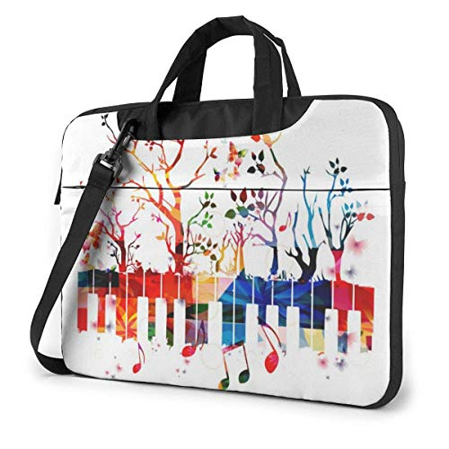 Colorful Piano Keyboard Music Note Unisex Laptop Bag Messenger Shoulder Bag for Computer Briefcase Carrying Sleeve