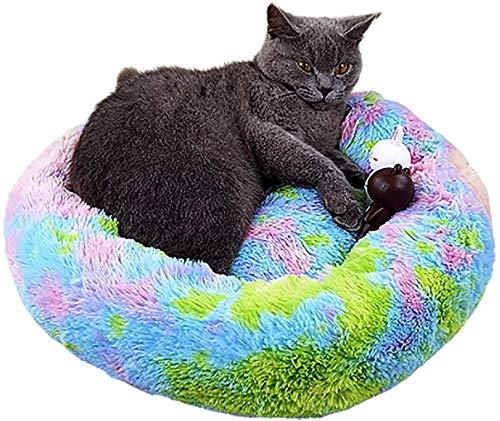 Luxus Plüsch Donut Cat Bett, verbessert Schlaf rundes warmes Kätzchen-Sofa, Anti-Rutsch-Bottom, super weiches Katzenhaus, Haustierhundkatze Beruhigendes Bett, weich und bequem, maschinenwaschbar, rot,