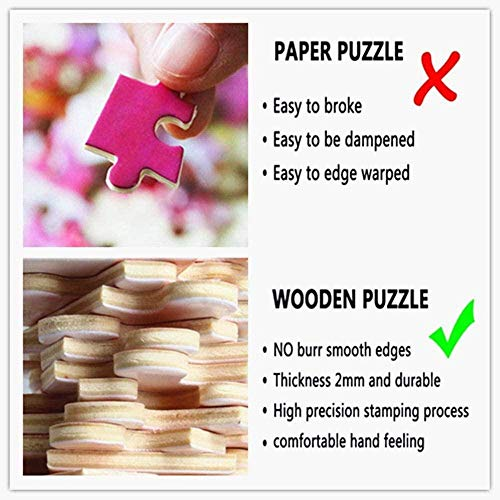 Q&K Red Flowers Jigsaw Puzzles Adults 500 Pcs Wood Toys Educational Puzzle Game Best Gift for Children