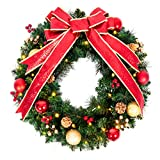 ANOTHERME 24 Inch Pre-lit Christmas Wreath Red Bow, Red and Gold Ball Berries Pine Core, Artificial Door Wreath 50 Clear LED Lights with Timer, Hanger Included