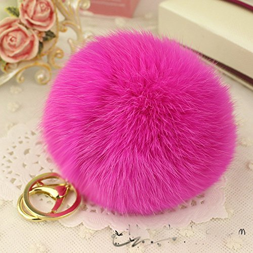 Minigianni Rabbit Fur Ball Pom Pom Keychain Gold Plated Keychain Pendant for Handbag Wallet Purse Car Key (Red)