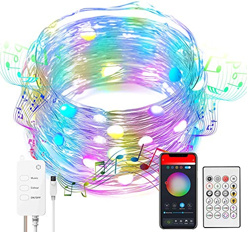 100 LEDs Fairy String Lights Work with Alexa, Google Home, Music Sync Twinkle Light Multi Color USB Powered Rope Light with Bluetooth, Phone APP Remote Control for Bedroom Christmas Decor - 10m