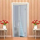 LZHBD Mosquitera Puerta Magnética - Cortina Mosquitera Puerta Cortina Antimosquitos Imán con Adhesivos Cintas y imanes para Salón Balcón Corredor Cocina 240 x 185 cm Gris
