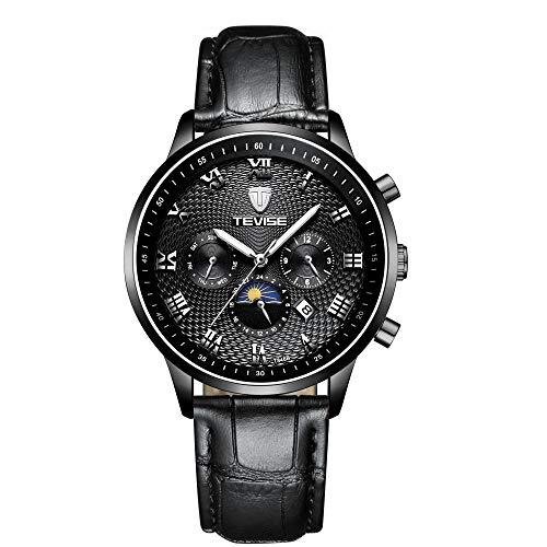 Horloges mannen Business Top Luxe Merk Automatische Mechanische Drie Ogen en Zes Naalden Polshorloge Riem Kalender Waterdichte Horloge, Zwart