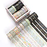 Washi Tape Set of 10 Rolls, Floral Gold Foil Masking Tape Decorative for Scrapbook, Planners, Card/Gift Wrapping, DIY Decor and Craft Supplies (Floral Grass)