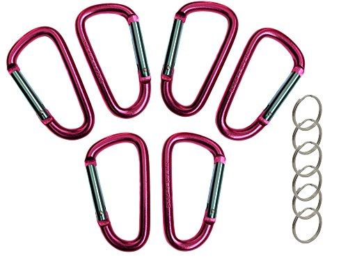 "3"" Aluminum Carabiner D Shape Buckle Pack, Keychain Clip, Spring Snap Key Chain Clip Hook Buckle - Pink 3"" (6 Pack)"