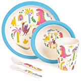 boppi 5-Piece Bamboo Eco Friendly Children's Dinnerware and Cutlery Set for kids Toddlers with Dishwasher Safe and BPA Free Round Plate Fruit Cereal Bowl Juice Cup Beaker Fork and Spoon - Dinosaurs