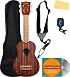 Kala KA-15S-H2 Satin Mahogany Soprano Ukulele - Hawaiian Islands & Tattoo Bundle with Gig Bag, Tuner, Strap, Fender Play Online Lessons, Austin Bazaar Instructional DVD, and Polishing Cloth