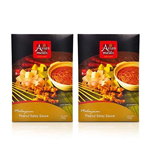 Asianmeals Cooking Sauce Packs (Peanut Satay Sauce, Pack of 2) Gado Gado Salad | Dipping Sauce | Salad Dressing | Spicy Peanut Sauce | Pasta Sauce | Asian Authentic Chicken Satay Sauce | 4.2oz