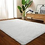 LOCHAS Ultra Soft Indoor Modern Area Rugs Fluffy Living Room Carpets for Children Bedroom Home Decor Nursery Rug Girls 5.3x7.5 Feet, Cream White