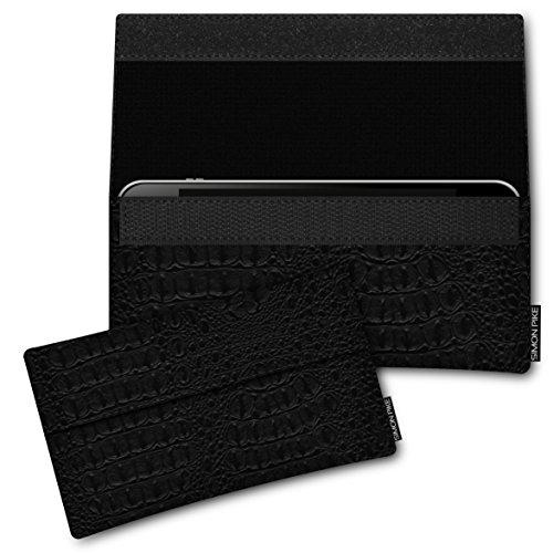 SIMON PIKE Hülle Tasche kompatibel mit Samsung Galaxy S8 Active | Schutztasche Newyork in 01 schwarz Kroko aus Kunstleder Handyhülle