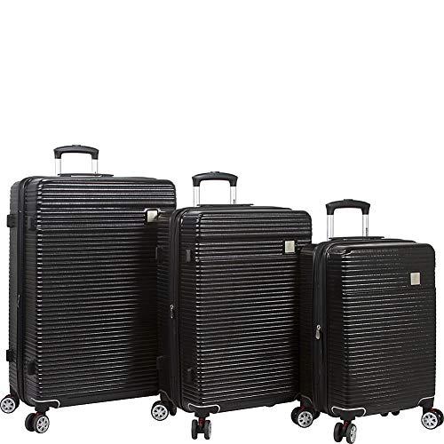 Dejuno Ashford 3-pc Hardside Spinner TSA Combination Lock Luggage Set, Black, 3-Piece
