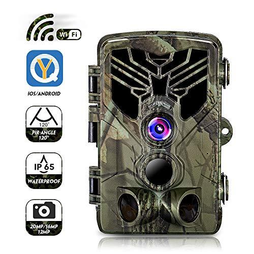 CAMVILD Trail Camera-WiFi 20MP 1080P Waterproof IP65 44 Infared LEDs Hunting Game Camera
