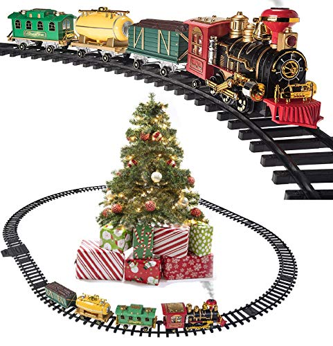 Christmas Steam Train Toy - Electric Train Set for Around Christmas Tree and Kids with Real Smoke, Music, & Lights Xmas Trains