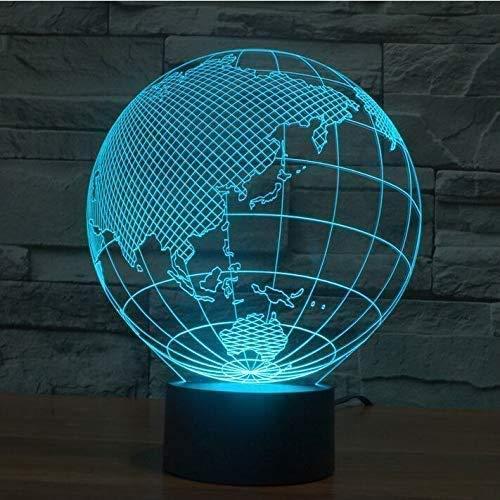 Lámpara 3D Asia Led Luz de Noche 7Color Cambio Lamstouch Interruptor Decoración Hogar Visión Lámpara