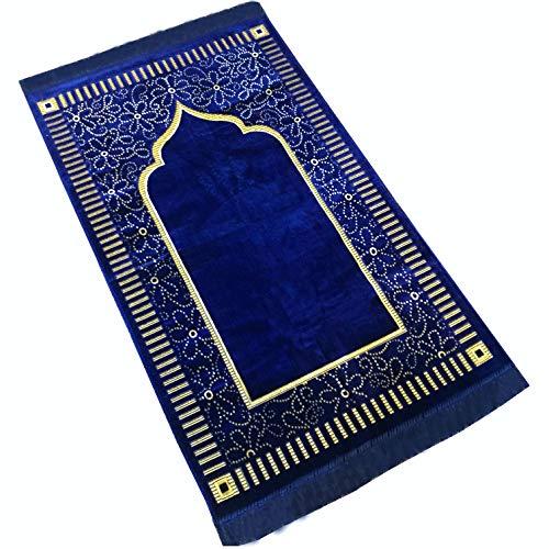 Gebetsteppich im Mihrab-Stil aus Samt (540 g) | muslimische Gebetsmatte – Janamaz | Größe: 110 x 65 cm | Hergestellt in der Türkei – Marineblau