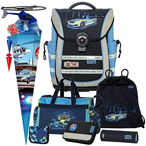 Polizei - Police - McNeill Ergo Light Pure mit Blinklicht Schulranzen-Set 8tlg. mit Sporttasche, BRUSTBEUTEL, SCHULTÜTE und SCHULTÜTENSCHMUCK-Set