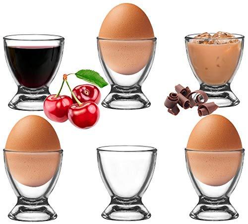 Platinux Eierbecher Set aus Glas 6 Teilig, Eierständer Eierhalter Frühstück Brunch Egg-Cup