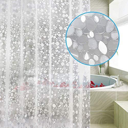 Carttiya Duschvorhang Anti Schimmel, Eva Badewanne Vorhang 180x180 cm, Antibakteriell,Wasserdicht &mit 12 Ringe,Weiß