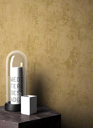 NEWROOM Tapete grafisch Gold Putz Beton Uni Vliestapete Beige Vlies Struktur Bauhaus inkl. Tapezier Ratgeber ǀ Grafik