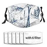 Sketchy Graphic of A Downhill with Ski Elements in Snow Relax Calm View Washable Reusable Face Bandanas Balaclava Mask with Adjustable Elastic Strap with 6 Filter