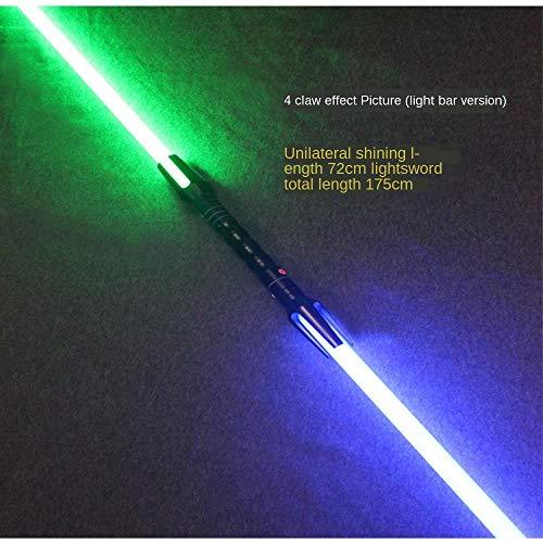 GYX Star Wars Lightsaber cos Props Espada de Doble Cabeza con Efecto de Sonido láser Espada Flash Espada de Doble Filo Juguete Mango Plateado (185 cm de Largo) 4 Garras...