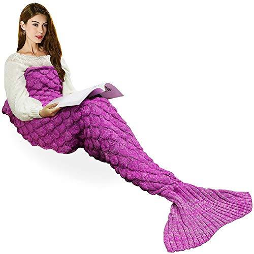 eCrazyBaby Hecho a Mano de Punto Manta de Cola de Sirena, Todas Las Estaciones cálido sofá Cama Sala de Estar Manta para niños y Adultos, Patrón de Fish-Escalas, 180 x 90 cm, Rosa Oscuro