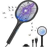 QUARED Raqueta Mosquitos Eléctrico, Raqueta Matamoscas Ayuda a Deshacerse Mosquitos/Moscas, Lámpara de Trampa de Mosquitos UV y Iluminación LED, 5 Capas Seguridad de Protección, USB Recargable