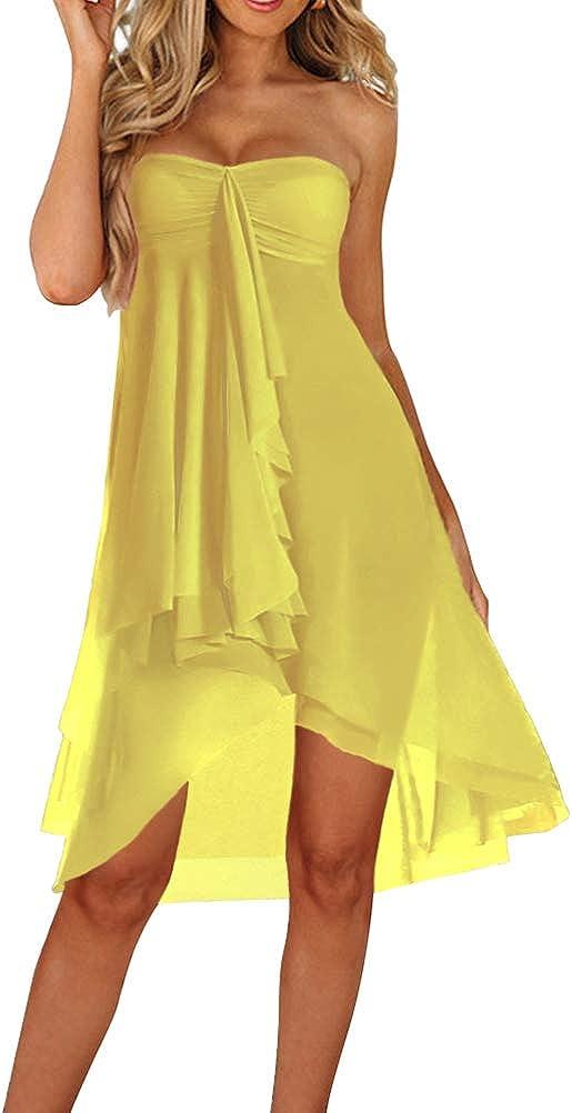 Upopby Women's Mesh Swimsuit Cover Up Bikini Sarong Strapless Dress Midi Skirt Beach Coverup Dress