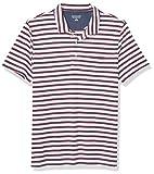 Amazon Essentials Men's Slim-Fit Pocket Jersey Polo, White Stripe, Large