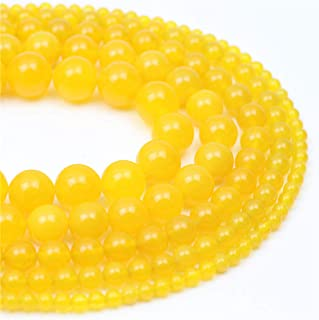 Oameusa 6mm Yellow Agate Beads Natural Round Smooth Beads DIY Materials Bracelet Necklace Earrings Making Jewelry Agate Beads for Jewelry Making 15