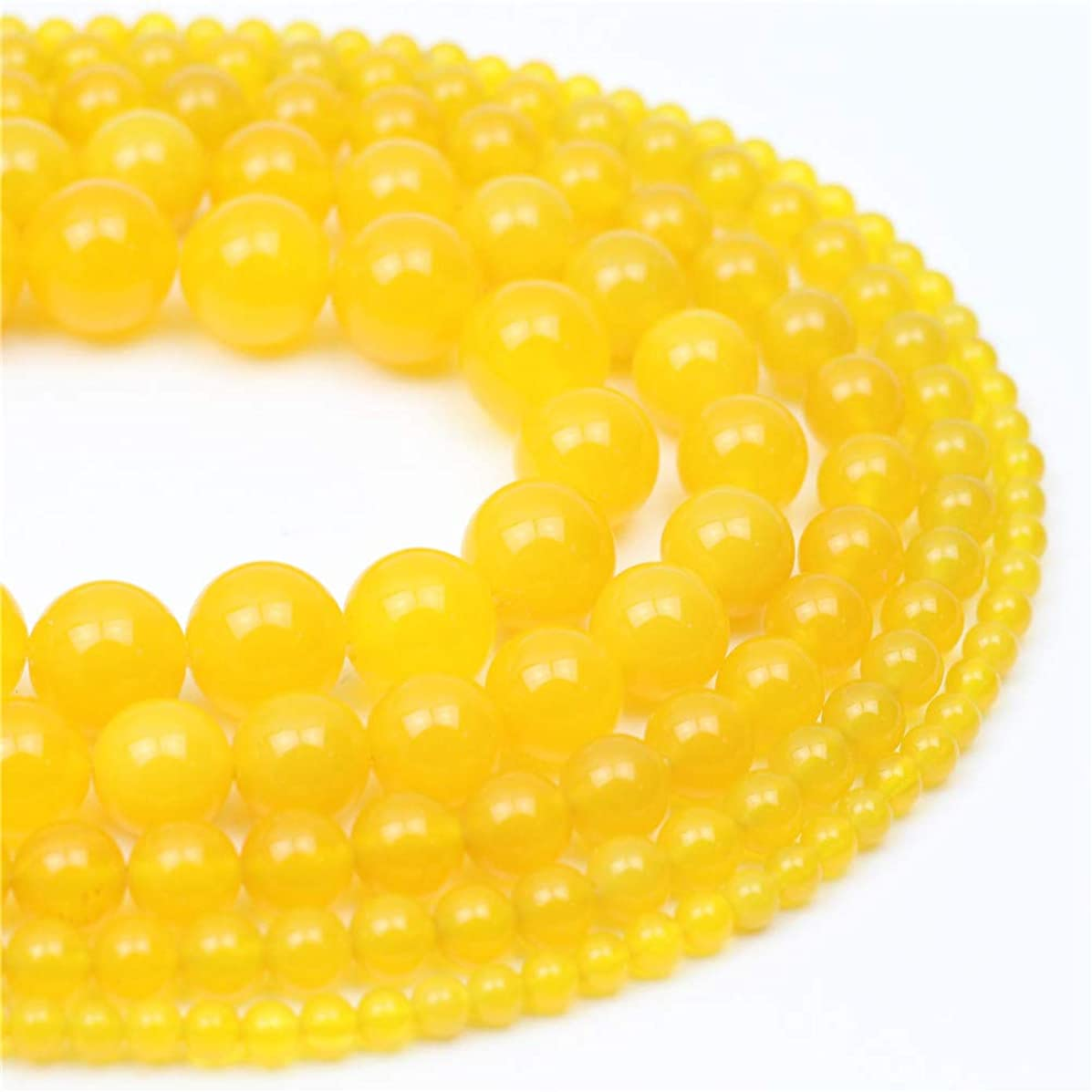 Oameusa 10mm Yellow Agate Beads Natural Round Smooth Beads Gemstone Beads Loose Beads Agate Beads for Jewelry Making 15