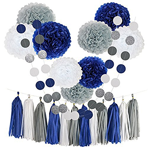 Monkey Home Tissue Pom Poms Paper Flowers,9 pcs of 8, 10, 12 Inch,Tissue Paper Tassel Paper Decorations for First Birthday - Baby Shower - Wedding - Table and Wall Decorations (Navy, White, Grey)