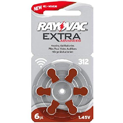 Rayovac Lot de 6 piles pour appareils auditifs H312MF N° 312 PR41 Extra Advanced 180 mAh sous blister