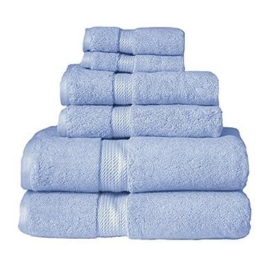 6-Piece Towel Set, Premium Long-Staple Cotton, 900 GSM, Light Blue