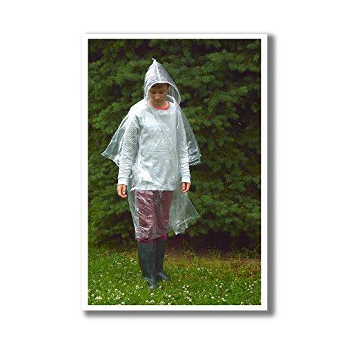 ASIS nettrade Poncho Impermeabile con Cappuccio–4Pezzi–Pioggia Cape Mantello–Trasparente