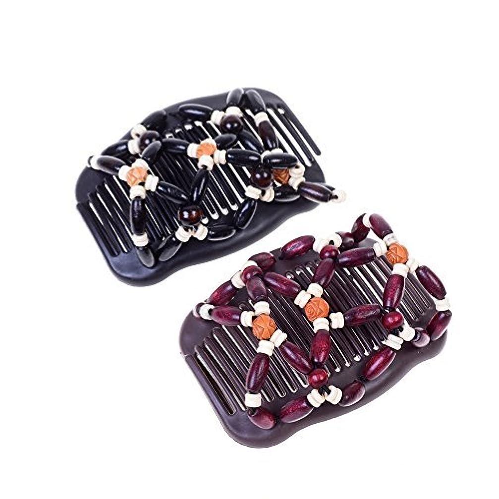 検証推測するコンバーチブルKloud City Women Magic Combs Wood Beaded Stretch Double Side Combs Clips Bun Maker Hair Accessories (Burgundy # Black) [並行輸入品]