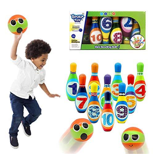 Bowling-Set für Kinder, enthält 10 Nadeln und 2 SoftBowling-Bälle, ideal als Geschenk für Kinder, frühe Erziehung, Jungen, Mädchen, Outdoor-Spiele innen
