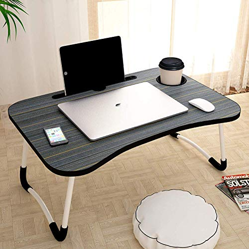 White Parrot Foldable Bed Study Table Portable Multifunction Laptop Table Lapdesk for Children Bed Foldabe Table Work Office Home with Tablet Slot & Cup Holder Bed Study Tabl Black Coloured