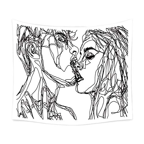 Ruibo Women/Men Abstract Sketch Art Kiss Lovers Tapestry/Kissing Tapestry Wall Hanging Black and White Line Art Tapestry, Beach Throw(RB-K-2)(W:59' H:51')