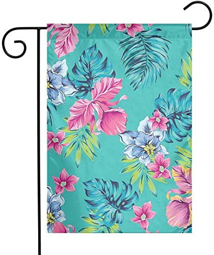 MJSTAR Hawaiian Hibiscus Palm Plumeria Orchid Painting Art Garden Flag 12'x 18' for Patio Lawn Outdoor Home Decoration